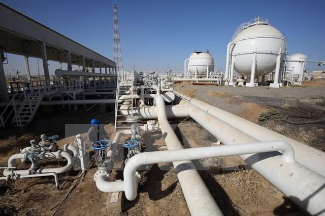 Nhân viên Iraq kiểm tra đường ống dẫn dầu tại giếng dầu Bai Hassan ở thành phố Kirkuk, miền bắc Iraq ngày 19/10. (Nguồn: AFP/TTXVN)