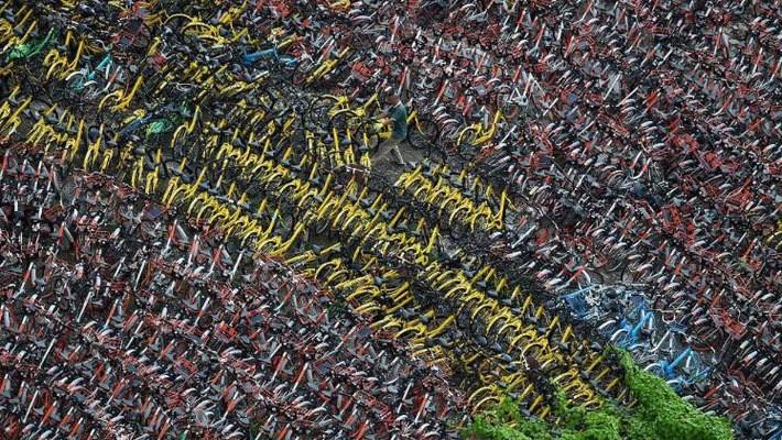 """""""Núi"""" xe đạp theo mô hình chia sẻ tại Trung Quốc - Ảnh: Getty Images."""