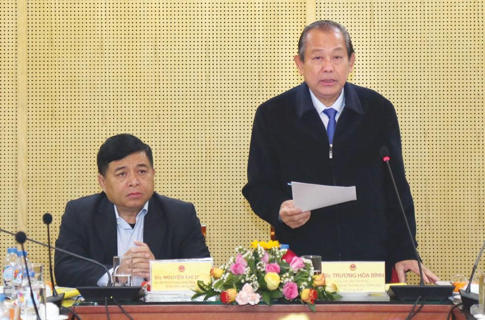 Phó Thủ tướng Trương Hòa Bình phát biểu tại Hội nghị kiểm điểm tự phê bình và phê bình đối với tập thể và cá nhân các thành viên Ban cán sự đảng Bộ KH&ĐT. Ảnh: Lê Tiên