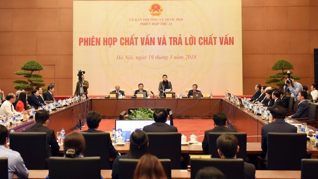 Phiên họp thứ 22 của Uỷ ban Thường vụ Quốc hội. Ảnh: Lâm Hiển