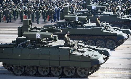"""Xe thiết giáp """"Kẻ hủy diệt"""", một trong các khí tài mới được Nga công bố năm nay. Ảnh:Ria Novosti."""