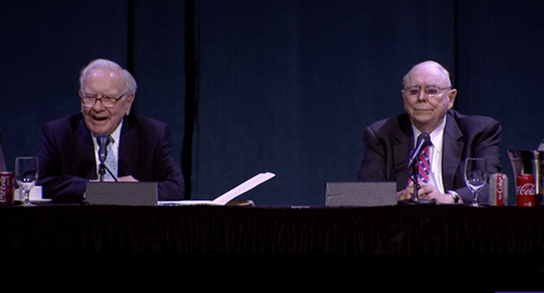 Warren Buffett và Charlie Munger trả lời các câu hỏi trong ĐHCĐ Berkshire Hathaway. Ảnh:Yahoo