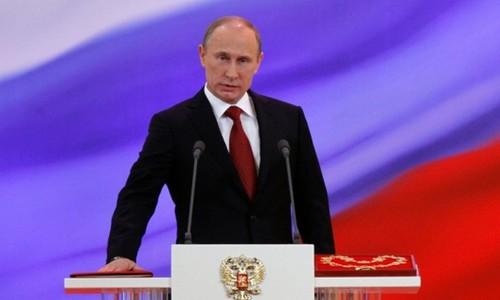 Ông Putin trong lễ tuyên thệ nhậm chức lần thứ ba tại Điện Kremlin năm 2012. Ảnh:AFP.
