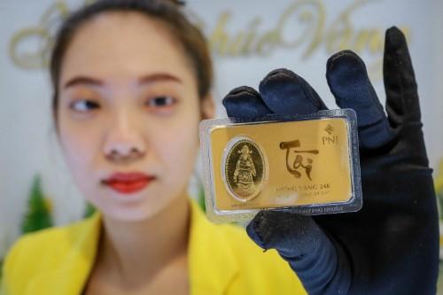 Vàng miếng được bày bán tại PNJ. Ảnh:Thành Nguyễn.