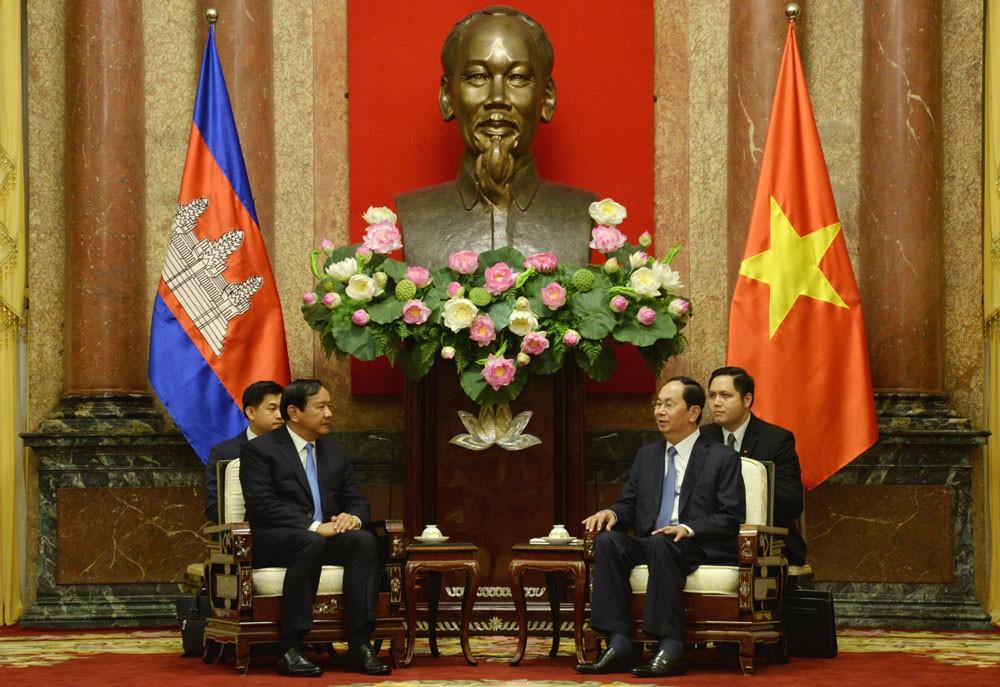 Chủ tịch nước Trần Đại Quang đánh giá cao kết quả Kỳ họp lần thứ 16 của Ủy ban Hỗn hợp Việt Nam – Campuchia. Ảnh: Việt Cường