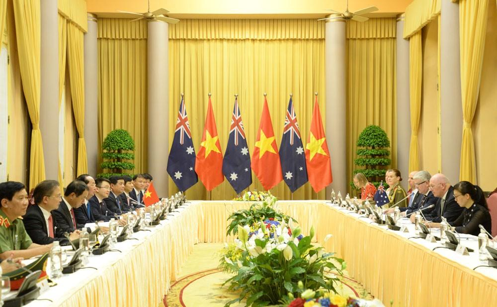 Toàn cảnh cuộc hội đàm giữa Chủ tịch nước Trần Đại Quang và Toàn quyền Australia Peter Cosgrove. Ảnh: Việt Cường