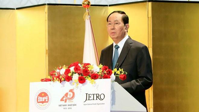 Chủ tịch nước Trần Đại Quang phát biểu tại Hội nghị Xúc tiến đầu tư Việt Nam. Ảnh: Nhan Sáng