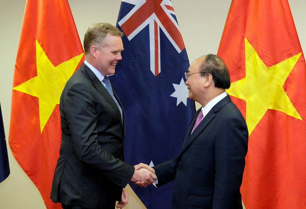Thủ tướng Chính phủ Nguyễn Xuân Phúc tiếp Chủ tịch Hạ viện Australia Tony Smith. Ảnh: Hiếu Nguyễn