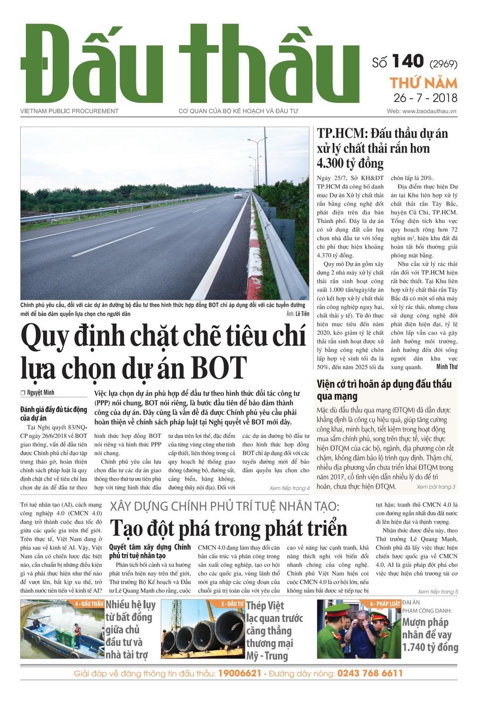 Báo Đấu thầu số 140 ra ngày 26/7/2018
