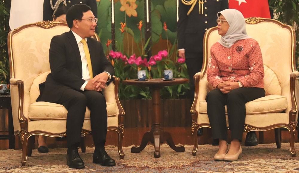 Phó Thủ tướng, Bộ trưởng Ngoại giao Phạm Bình Minh hội kiến Tổng thống Singapore Halimah Yacob. Ảnh: TTXVN
