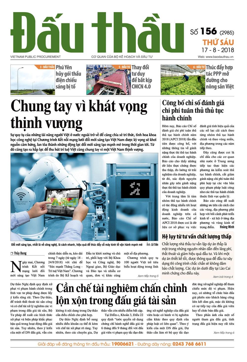Báo Đấu thầu số 156 ra ngày 17/8/2018