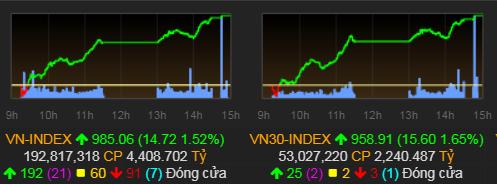 Tăng ba phiên liên tiếp, VN-Index lên 985 điểm - ảnh 1
