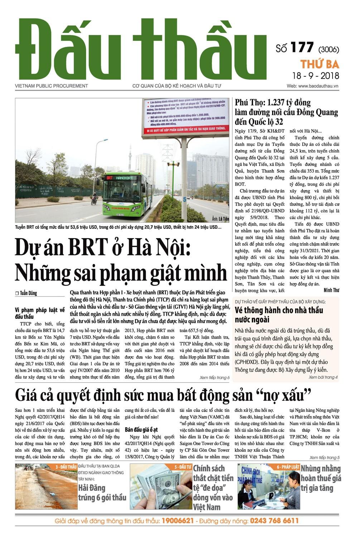 Báo Đấu thầu số 177 ra ngày 18/9/2018