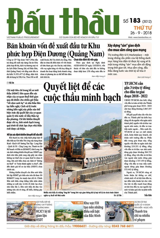 Báo Đấu thầu số 183 ra ngày 26/9/2018