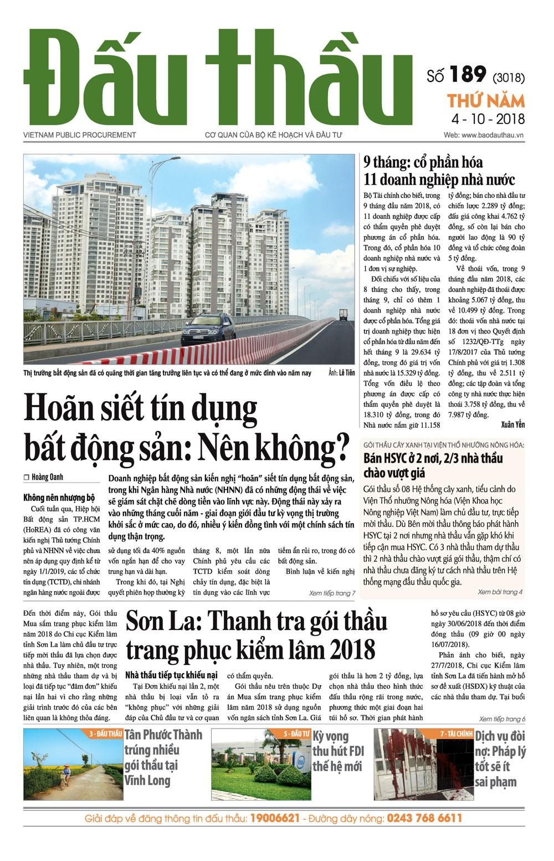 Báo Đấu thầu số 189 ra ngày 4/10/2018
