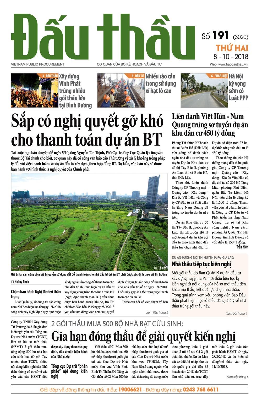 Báo Đấu thầu số 191 ra ngày 8/10/2018