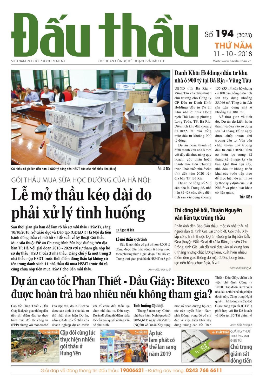 Báo Đấu thầu số 194 ra ngày 11/10/2018