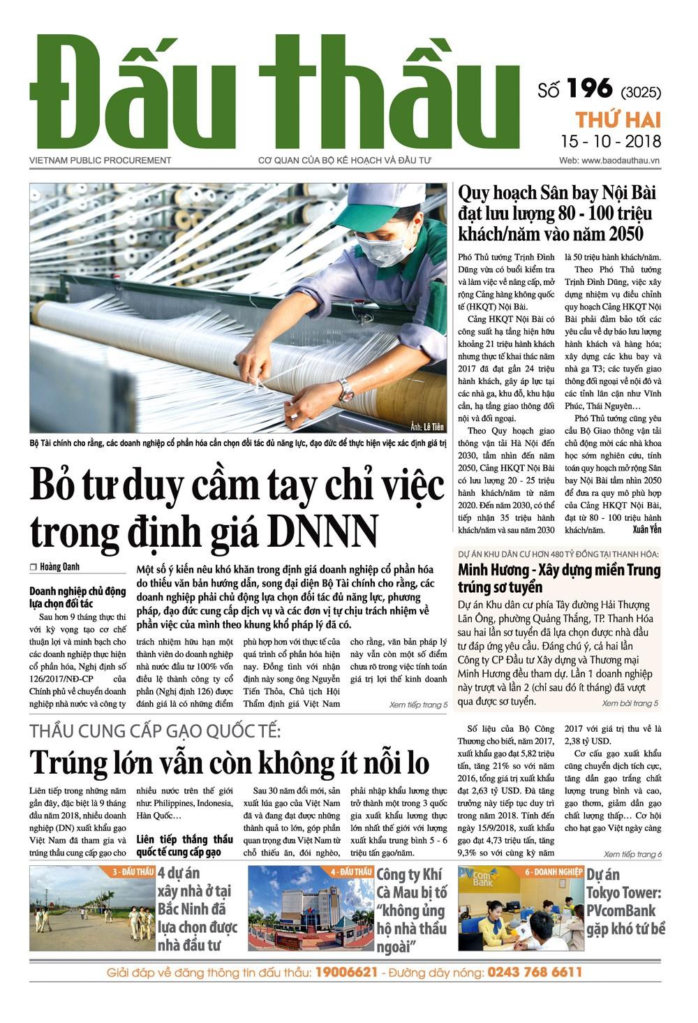 Báo Đấu thầu số 196 ra ngày 15/10/2018