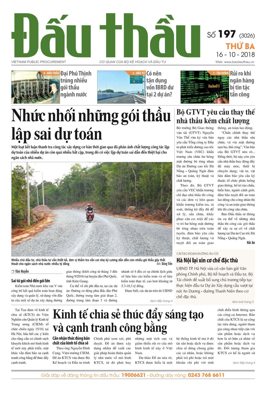 Báo Đấu thầu số 197 ra ngày 16/10/2018