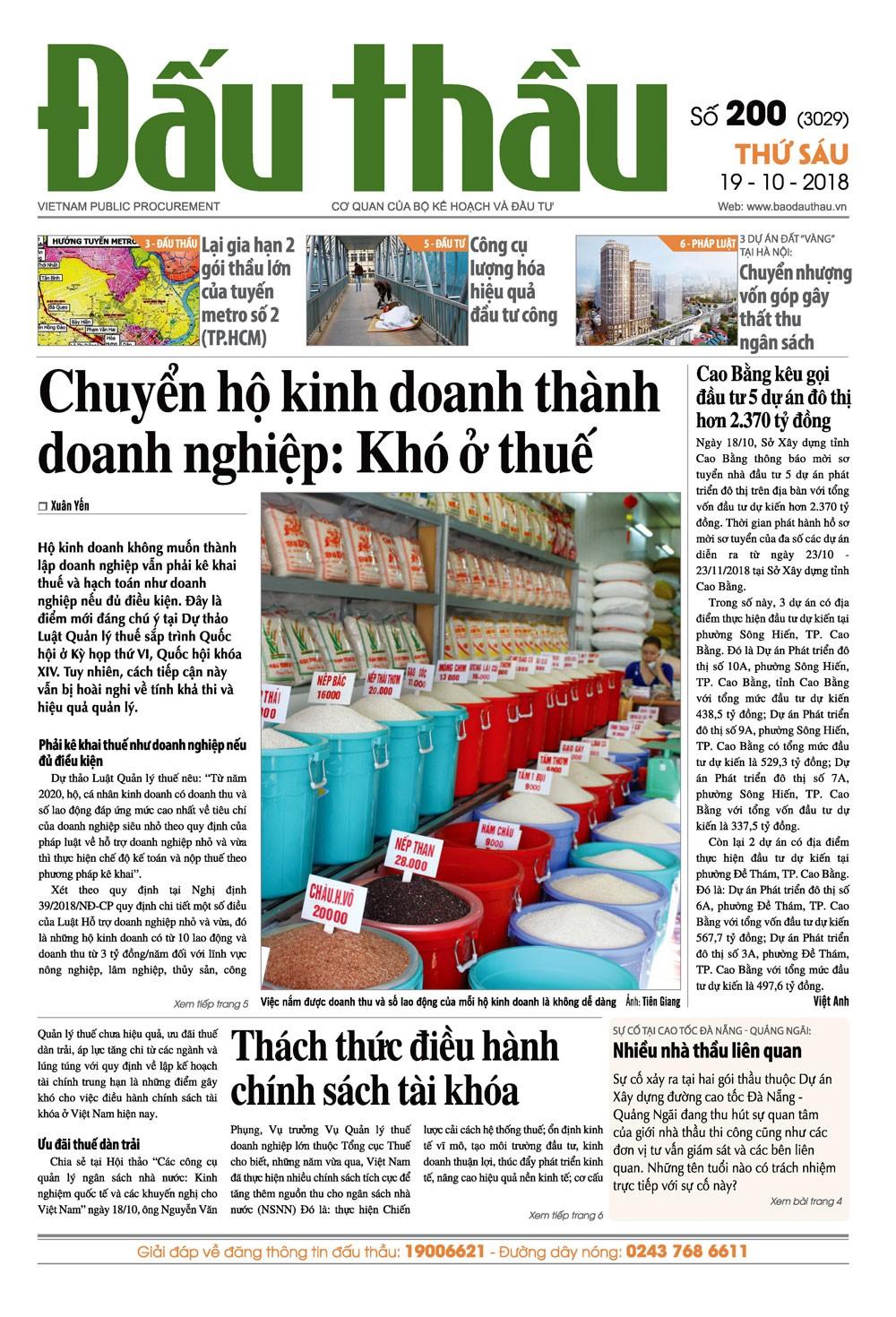 Báo Đấu thầu số 200 ra ngày 19/10/2018