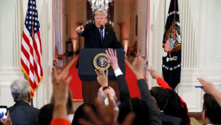 Tổng thống Mỹ Donald Trump trong cuộc họp báo tại Nhà Trắng ngày 7/11 - Ảnh: Reuters.