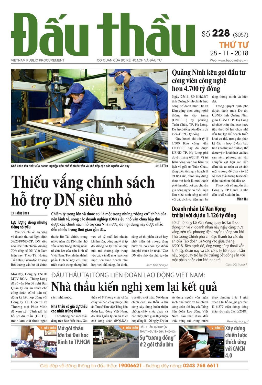 Báo Đấu thầu số 228 ra ngày 28/11/2018