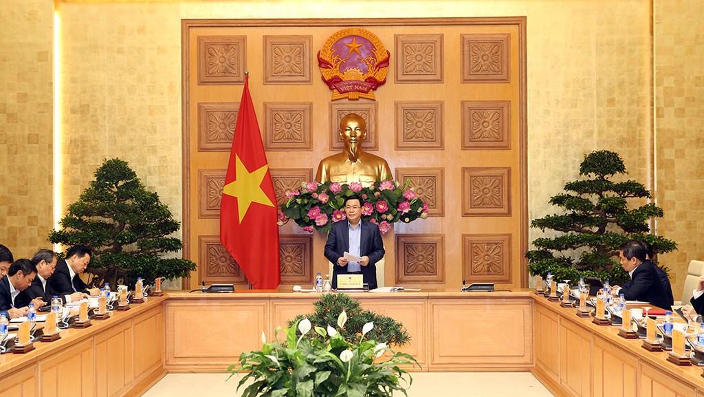 Phó Thủ tướng Vương Đình Huệ chủ trì cuộc họp xây dựng Dự thảo Nghị quyết số 01/NQ-CP năm 2019 của Chính phủ. Ảnh: Thành Chung