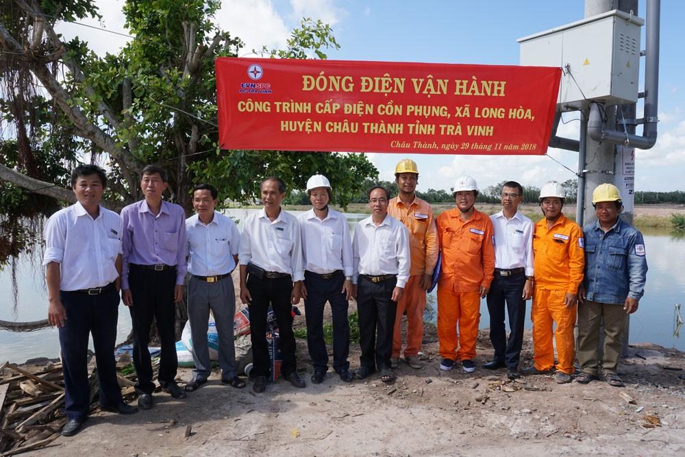 """Đóng điện vận hành công trình cấp điện """"ốc đảo"""" Cồn Phụng, xã Long Hòa, huyện Châu Thành, tỉnh Trà Vinh"""