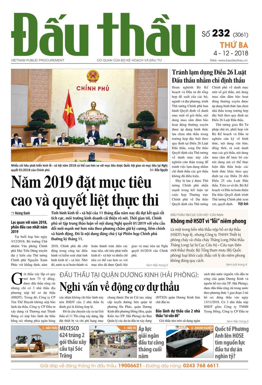 Báo Đấu thầu số 232 ra ngày 4/12/2018