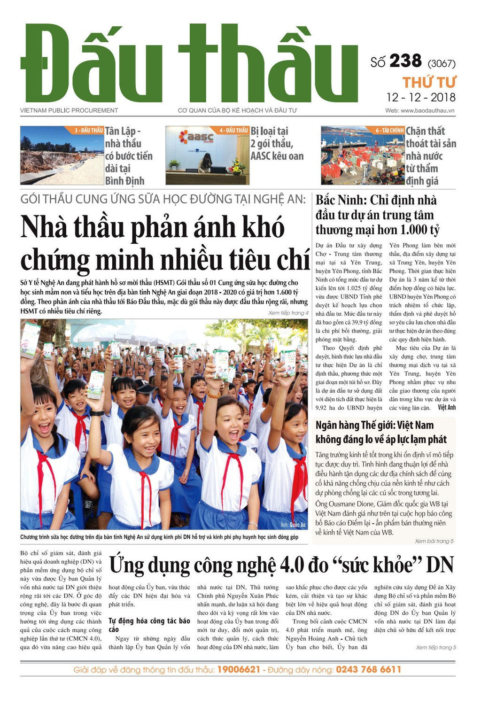 Báo Đấu thầu số 238 ra ngày 12/12/2018