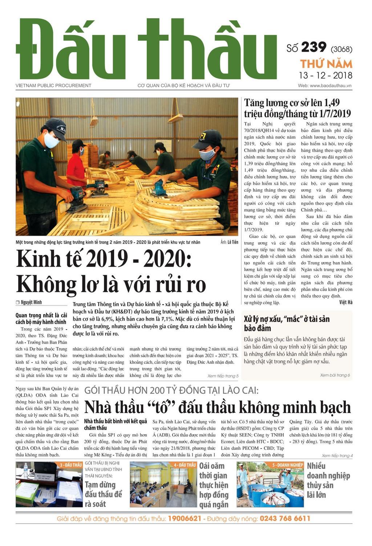 Báo Đấu thầu số 239 ra ngày 13/12/2018