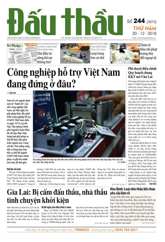 Báo Đấu thầu số 244 ra ngày 20/12/2018