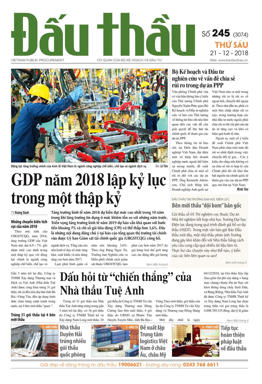 Báo Đấu thầu số 245 ra ngày 21/12/2018