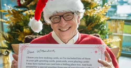 Bill Gates và lời chúc dành cho người nhận quà năm nay. Ảnh: Gates Notes