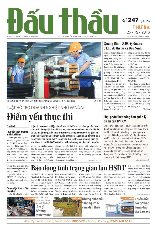 Báo Đấu thầu số 247 ra ngày 25/12/2018