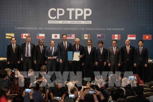 Bộ trưởng Bộ Công Thương Việt Nam Trần Tuấn Anh (phải) cùng đại diện các nước tham gia lễ ký Hiệp định CPTPP ở Santiago ngày 8/3. THX/ TTXVN