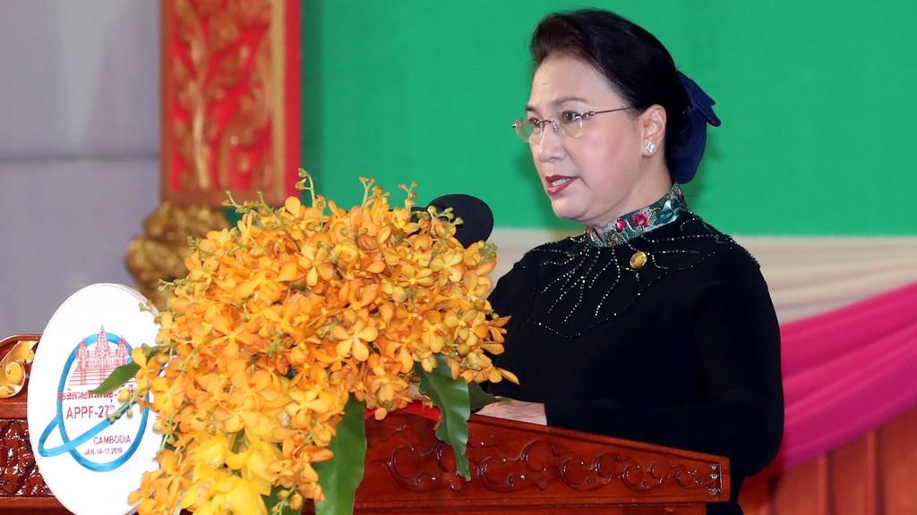 Chủ tịch Quốc hội Nguyễn Thị Kim Ngân phát biểu tại Lễ khai mạc Diễn đàn Nghị viện châu Á - Thái Bình Dương APPF lần thứ 27. Ảnh: Trọng Đức