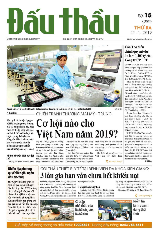 Báo Đấu thầu số 15 ra ngày 22/1/2019