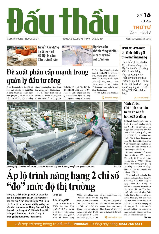 Báo Đấu thầu số 16 ra ngày 23/1/2019