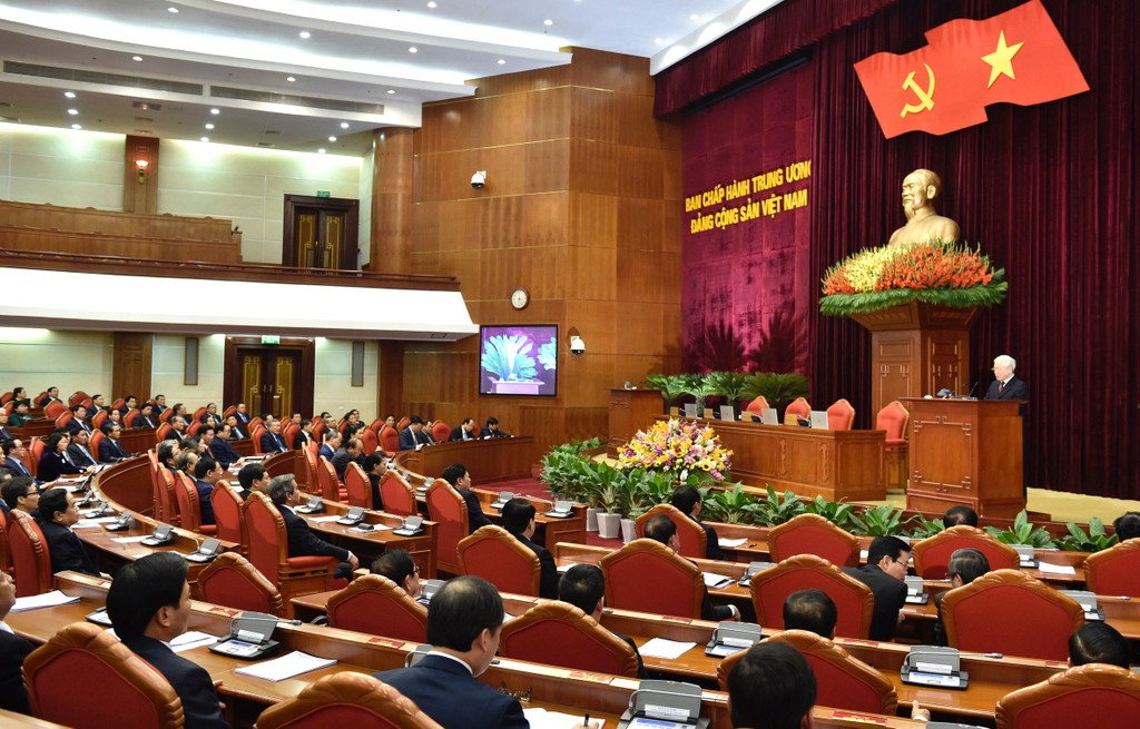 Tại Hội nghị Trung ương 9, Khóa XII, Trung ương đã lấy phiếu tín nhiệm đối với các đồng chí Ủy viên Bộ Chính trị, Ủy viên Ban Bí thư khóa XII. Ảnh: Nhật Bắc