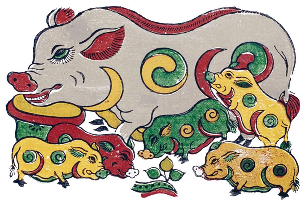Hình ảnh chú lợn với vòng tròn âm dương xuất hiện không chỉ trong tranh dân gian Đông Hồ xưa, mà còn trong tác phẩm của các họa sỹ thời nay