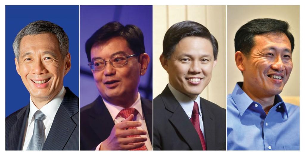 Thủ tướng Lý Hiển Long và 3 ứng cử viên sáng giá cho vị trí Thủ tướng Singapore trong tương lai (Heng Swee Keat, Chan Chun Sing và Ong Ye Kung)