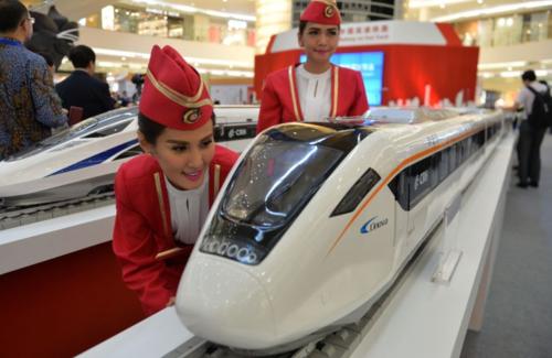 Mô hình tàu cao tốc của Trung Quốc triển lãm tại Jakarta (Indonesia). Ảnh:AFP