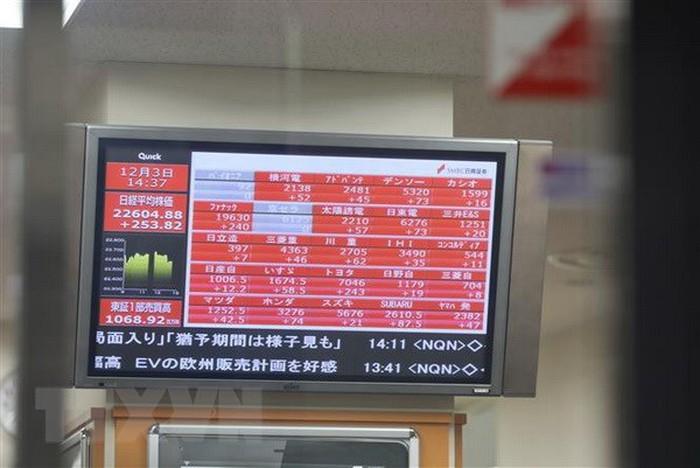 Bảng tỷ giá chứng khoán tại Tokyo, Nhật Bản. (Nguồn: THX/TTXVN)