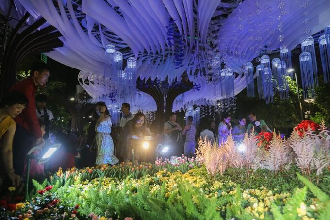 Đông nghịt người dân tham quan đường hoa Nguyễn Huệ - ảnh 4