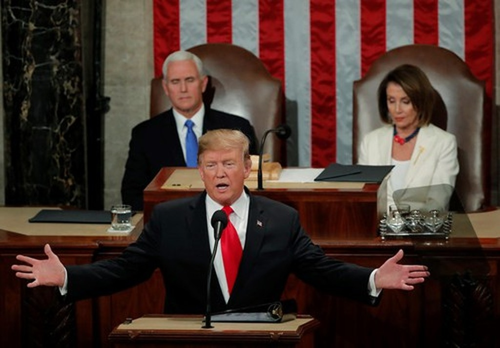Tổng thống Mỹ Donald Trump lần thứ hai đọc Thông điệp Liên bang. Ảnh: Reuters.