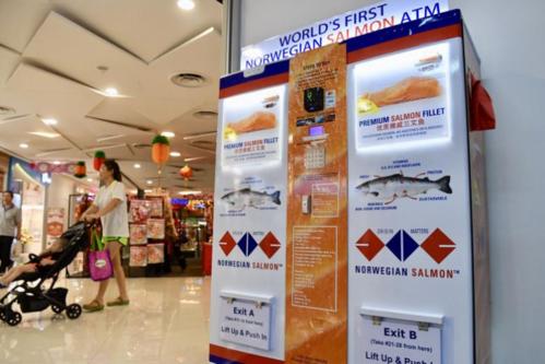 ATM cá hồi được lắp ở một trung tâm thương mại.Ảnh: The Straits Times