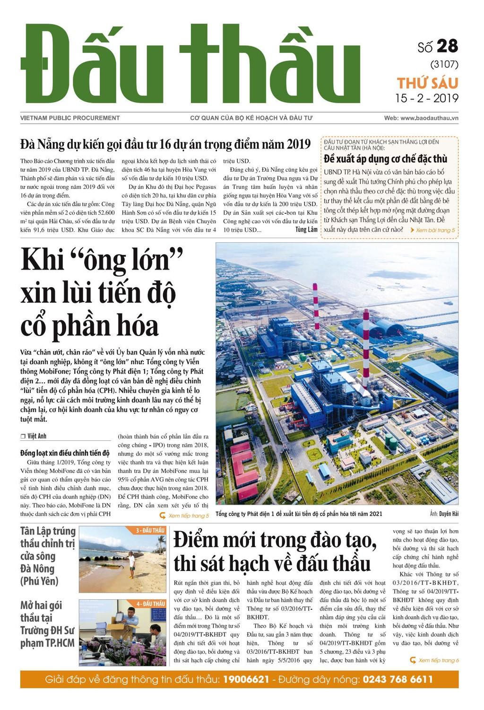 Báo Đấu thầu số 28 ra ngày 15/2/2019