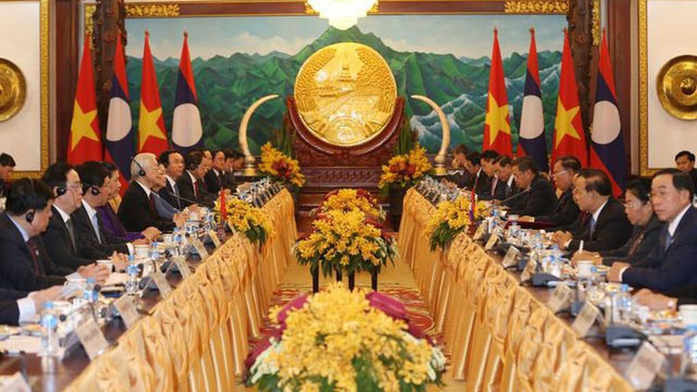 Tổng Bí thư, Chủ tịch nước Nguyễn Phú Trọng hội đàm với Tổng Bí thư, Chủ tịch nước Lào Bounnhang Vorachith. Ảnh: Chí Dũng