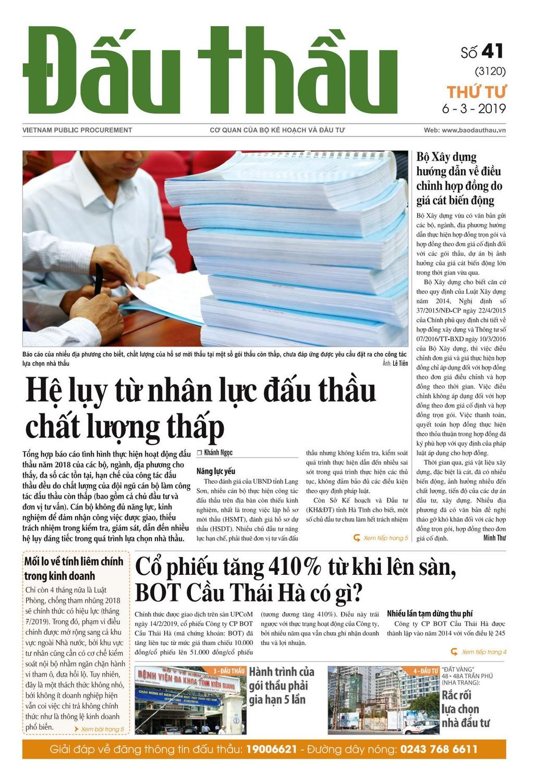 Báo Đấu thầu số 41 ra ngày 6/3/2019